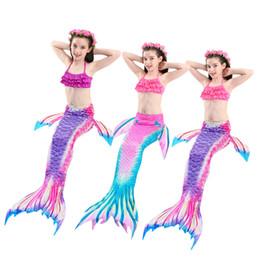 costumi sirena bambino Sconti 3 PZ 2019 Nuovi Bambini Code a Sirena con Monofin Bambini Costumi da Bagno Nuoto Mermaid Tail Mermaid Costume da bagno Flipper per le ragazze 4-12 anni
