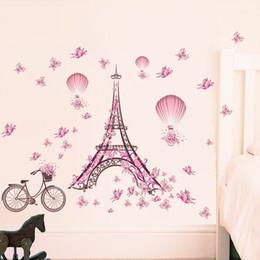 Canada Romantique Paris Amour Couple Tour Eiffel Stickers Muraux En PVC Pour Enfants Chambres Home Stickers Pour Salon Chambre Décoration Affiche Offre