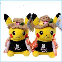 brinquedos pocoyo a atacado Desconto 20 cm / 8 polegadas Detetive Pikachu brinquedos de pelúcia Vestindo Casaco Floral, Camisa e Chapéu De Palha para As Crianças Presentes Livre Fhipping B11