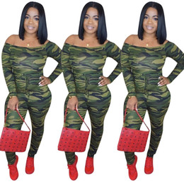 6db6bfb124cf Camouflage Print Skinny Sexy Party Romper Slash Neck Backless Full Sleeve Women  Jumpsuit Front Lace Up Fashion Bodysuit sexy camouflage jumpsuits for sale