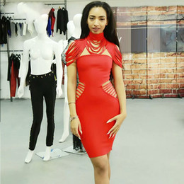 b5e6f3eab5b Hashupha 2019 New Bandage Dress Sexy Club Sleeveless Solid Mini Winter  Elegant Evening Party Celebrity Nightclub Red Dresses