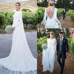 column bateau dress Coupons - 2019 Charming Country Wedding Dresses Long Sleeves Bateau Backless Sweep Train Garden Boho Bridal Gowns Vestido De Novia Cheap Customized