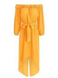 vestidos amarillos sólidos Rebajas Kenancy elegante fuera del hombro volantes cuello cinturones Vestidos fiesta sólido amarillo manga larga irregular bohemio mujeres vestido