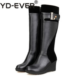 cb15811bb9d6 2018 New Plus Big Size 30-52 Black Red Brown Mid Heel Platform Knee High  Winter Autumn Girl Wedge Lady Female Womens Boots X1361