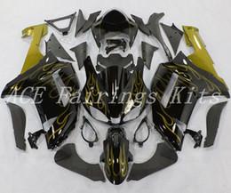 2019 ninja 636 de oro negro 3 regalos gratis Nueva carenados de motocicleta ABS aptos para kawasaki Ninja ZX6R 636 ZX-6R 2007 2008 07 08 kits de carenado de bicicleta llama de oro negro rebajas ninja 636 de oro negro
