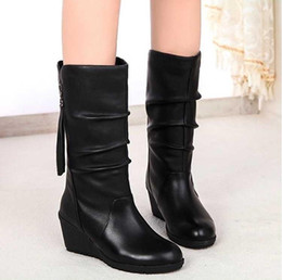 1005f544f 18 years winter new wedge with high heel round head zipper women's boots  fashion wild boots tassels Martin
