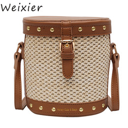 small handbags for ladies Promo Codes - WEIXIER Straw Drum Bag For Rivet Design Small Crossbody Bags Ladies Summer Travel Messenger Shoulder Bag Female Handbags V1-98