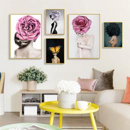 Mode Nordique Fille Peinture Murale Fleurs D Affiche Canvas Wall Art Clair Luxe Caractère Salon Chambre Décoration