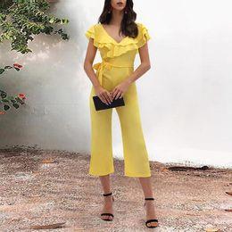 2019 желтые комбинезоны для женщин Women Off Shoulder Ruffle Jumpsuit Solid Sexy Party Bandage Yellow Skinny Club Elastic Bodycon Rompers дешево желтые комбинезоны для женщин