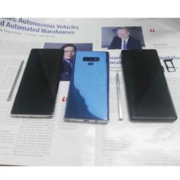 Chips de teléfonos celulares online-6,4 pulgadas Goophone Note9 Teléfono celular Huella digital Desbloqueado Teléfono inteligente Quad Core MTK6580 Chip 1GB + 8GB Real 3G Show Fake 4G Net