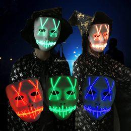 videospiel requisiten Rabatt Led Maske Halloween Mascara Leuchtende Masken Neon Party Maskerade Maska Carnaval Weiß Horor Mascarillas Licht Korku Maskesi Maski GT56