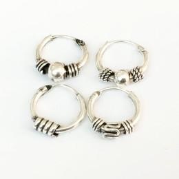 Thailändische ohrringe online-S925 Sterling Silber Ohrringe Thai Silber Ohrringe Persönlichkeit Mode Punk Männer und Frauen OhrschmuckTremella Ring Piercing Schmuck verkauft