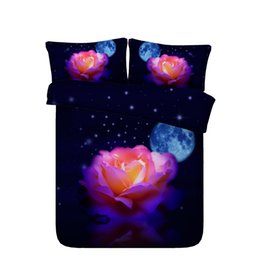 rainbow beds Coupons - Rainbow Rose Eiffel Tower Duvet Cover Set Galaxy Universe 3 Piece Bedding Set With 2 Pillow Shams Colorful Flowers Coverlet Black Bedspread