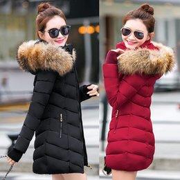 Down Parka Wintermäntel Neue 2019 Art und Weise lange Winterjacke Frauen nehmen weiblicher Mantel verdicken Parka unten Cotton Kleidung Red Kapuze