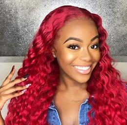 2019 perucas onduladas de renda vermelha Frete Grátis Natural Procurando Glueless Longo Encaracolado Vermelho Peruca Dianteira Do Laço Sintético para As Mulheres Meia Mão Amarrado Calor Amigável Cosplay Peruca 22 inch perucas onduladas de renda vermelha barato
