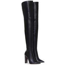 Cuisses épaisses talons en Ligne-La mode sur le genou femme bottes cuir nude épais talons hauts cuisse femme bottes discothèque noire robe chaussures grande taille 34-45