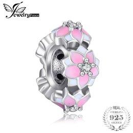 emaille sterling schmuck Rabatt Jewelrypalace 925 Sterling Silber Magnaolia Bloom Rosa Emaille Spacer Geschenke Für Frauen Jahrestag Geschenke Modeschmuck Neu