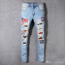 Panther kleidung online-22 Designs Marke amiri Jeans Kleidung Designer Hosen Off Road Panther Black Soldier Herren Slim Denim Straight Biker Loch Hip Hop Jeans Herren A
