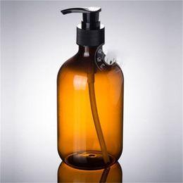 Banho fino on-line-300ml de chá cores Bomba de pressão garrafa PET Fina Neck Shower Gel Shampoo Bottles Soap Dispenser Bath Acessórios 1 75xmH1