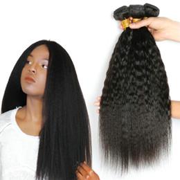 Brazillian reine lockige haarverlängerungen online-MusiKinky Straight Brasilianische Haarwebart Bundles Haarverlängerungen Brazillian Virgin Hair Yaki Straight Curly 3 Bundles