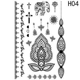 farfalla di henné Sconti Autoadesivo del tatuaggio temporaneo del merletto nero del hennè Mandala impermeabile piuma di farfalla falsa tatuaggio Body Art donne braccialetto Tatoo pasta