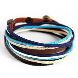 Pulseras anchas de cuero de la pulsera de la moda brazalete ajustable capas múltiples pulseras Hip Hop Pulsera punky para la mujer hombre desde fabricantes