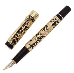 Jinhao dragão dourado on-line-Jinhao 5000 Vintage de Luxo de Metal Caneta Tinteiro Bent Nib Belo Dragão Textura Escultura, Golden Black Office Pen