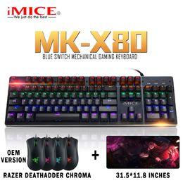 Conmutadores de teclado azul online-IMICE MK-X80 Interruptor azul Teclado para juegos con interruptor intercambiable N-key Rollover USB Teclado mecánico con cable con OEM RAZER Ratón gratis