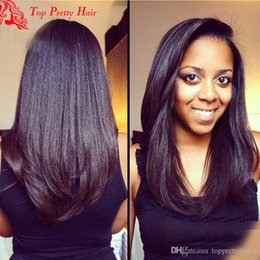 Parrucca grossolana dei capelli umani di yaki online-Parrucca diritta crespi u parrucca grezza Yaki vergine malese parrucca Upart Pre-colta italiano Yaki capelli umani parrucche a forma di U per le donne nere