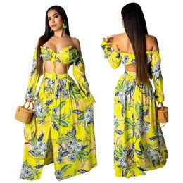 Vestido de dos piezas con estampado floral de mujeres Sexy 2019 Lace Up Off Shoulder Top de manga corta Shorts top + Falda alta Split Lon Vestidos largos de playa desde fabricantes