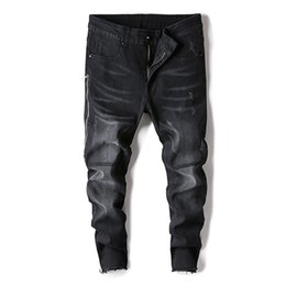 2019 cerniera jeans leg 2019 New Explosive Street Fashion Uomo Skinny Jeans Pantaloni neri Fit Zipper Slim freddo elastico Biker Biker Hip Hop Jeans a figura intera sconti cerniera jeans leg