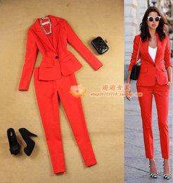 2020 traje pantalón rojo mujer Viajando Moda Mujeres 2 Unidades / set Trajes de Negocios Para Mujer Trajes Pantalones Rojos Traje Formal Ol Traje de Negocios de Manga Larga Traje Nuevo Q1904012 traje pantalón rojo mujer baratos