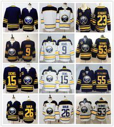 Blue Buffalo Sabres Hockey 9 Jack Eichel Jerseys 26 Rasmus Dahlin 53 Jeff  Skinner 55 Rasmus Ristolainen 23 Sam Reinhart Jersey 58a820b83