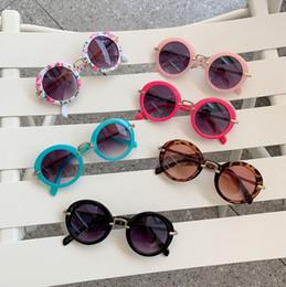 2019 kinder runden brillen Sonnenbrille Kinder Retro Runde Brille Runde Mädchen Brillen Kinder Strand Sonnenbrille Sommer Kinder Zubehör Leopard Blume 6 Farben YW3432 günstig kinder runden brillen