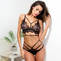 Sutiã panty fino on-line-Lngerie For Women Set Lace fio grátis Correias oco fora Push Up Roupa interior Ultrafino Definir Mulheres Black White Bra + Panty RS80834