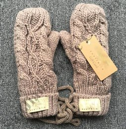 Luvas de malha sem dedos on-line-Luvas De Malha de inverno Austrália UG Ski Twist Luvas De Luxo Macio Grosso À Prova de Vento Aquecida Sem Dedos Luva Menina Crochet Designer Mittens C91001