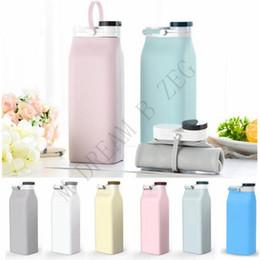 Garrafa de água dobrada on-line-FDA 600ML portátil garrafa flexível leite com tampa dobrável garrafa de água de água de grande capacidade garrafa Outdoor Silicone Folding Água