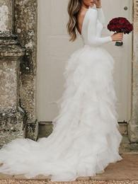 2019 турецкие длинные платья robe de mariage застегнутый V-обратно оборками с длинным рукавом свадебное платье 2019 новый стиль Турция Vestido де Novia свадебные платья скидка турецкие длинные платья
