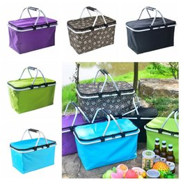 Cores de alimentos on-line-Outdoor Picnic Meal Bag Folding Oxford Cloth Ice Family Pack Outdoor Picnic Food Storage Bag Takeaway contentores 6pcs 5 cores CCA11779-A