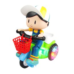 rodas de trabalho ao atacado Desconto Triciclo Stunt Toy Car Música Modelo Elétrico Kindergarten Iluminação Dinâmica Girar Alimentado Por Bateria kid toy dia das crianças presentes de aniversário