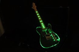 2019 guitares électriques acryliques TL Crystal Light Acrylic Body Green Light Light Frets Light Maple Touche Top Qualité guitares électriques acryliques pas cher