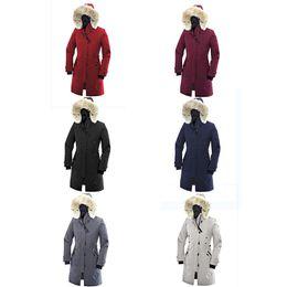 Cuscino d'oca online-Vendita calda di lusso piumino d'oca con cappuccio in pelliccia alla moda cappotti invernali caldo Parka inverno usa cina Canada cotone imbottito giacca giacca di cotone imbottito