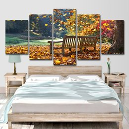 landscape photo painting hd Promo Codes - Canvas Painting Wall Art Pictures Living Room Decor Photo 5 Pieces HD Print Park Trees Long Stools Landscape Poster
