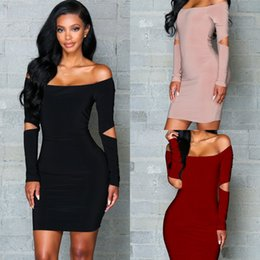 afafb95a1fe Fashion Long Sleeves Party Dresses for Women Autumn off the Shoulder Bodycon  Short Casual Dress Sexy Bandage Clubwear Clothes