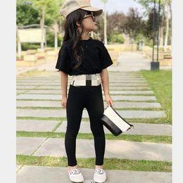Camicia di marca online-Le ragazze indossano la tuta dei bambini di estate dei vestiti vestito dei bambini di colore nero + pantaloni abbigliamento di marca delle ragazze dei vestiti di marca dei bambini