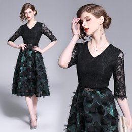 Tempérament Noble Robe Complète De Mode Slim Col V Robe Midi De Bal Robes Formelles 2019 Nouvelles Femmes Robes En Dentelle ? partir de fabricateur