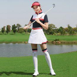 farbblock t-shirts Rabatt PGM Golf Damen Rock + Golf T Shirt Damen Sport Action Color Block für Tennis Bekleidung Bekleidung