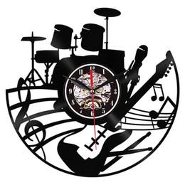 rolos de vinil para arte de parede Desconto Guitarra Wall Art Relógio de Parede Instrumento Musical Home Decor Interior Relógio de Vinil Registro Rock N Roll Musical Presente