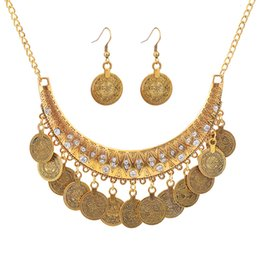 Fábrica de metal joyas online-Joyería de moda Venta al por mayor de metal simple Joker Coin Necklace Earring Set Factory Fast Shipping
