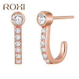 goldbrief j Rabatt ROXI New Fashion Rose Gold Haken Ohrringe Ohrringe Zirkon Brief J Form Ohrstecker Für Frauen Geschenk boucle d'oreille femme